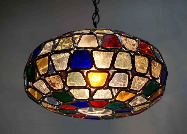 Stained Glass Pendant Light For Sale 1