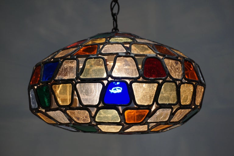 Italian Stained Glass Pendant Light For Sale
