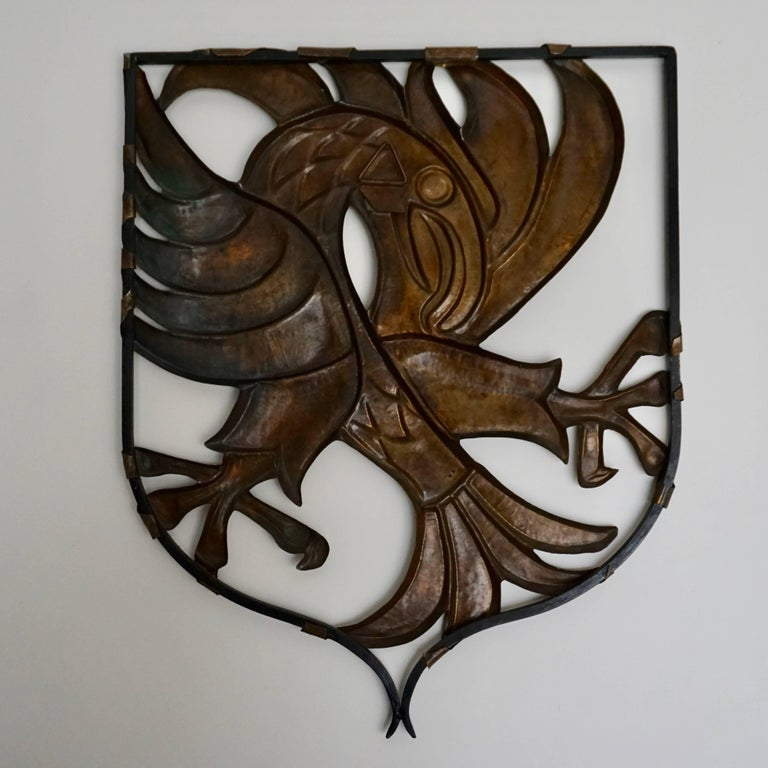 Brutalist Copper Wall Art Bird by M J Francois For Sale 3