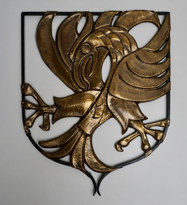 Brutalist Copper Wall Art Bird by M J Francois In Excellent Condition For Sale In Antwerp, BE