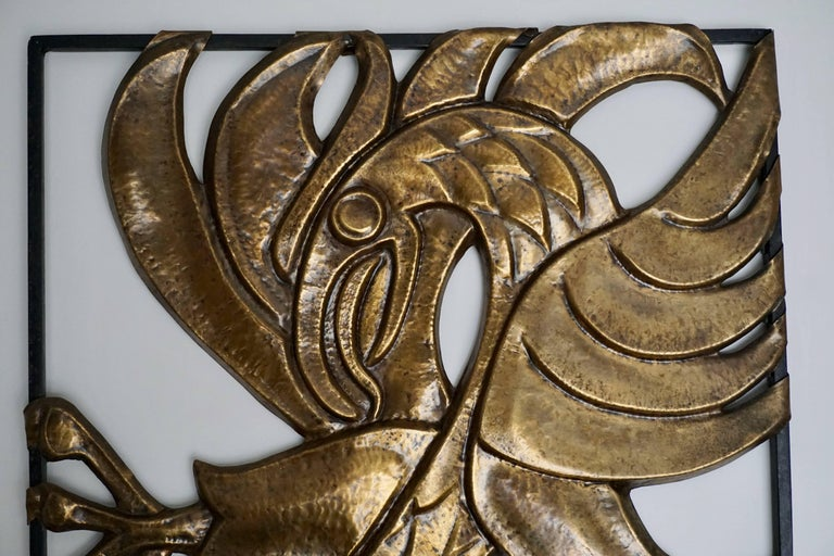 Rare Brutalist copper wall art bird by M. J. Francois.