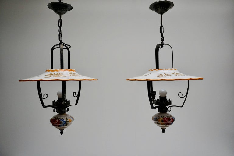 Italian Two Porcelain Pendant Lights For Sale