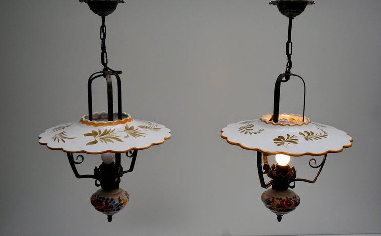 20th Century Two Porcelain Pendant Lights For Sale