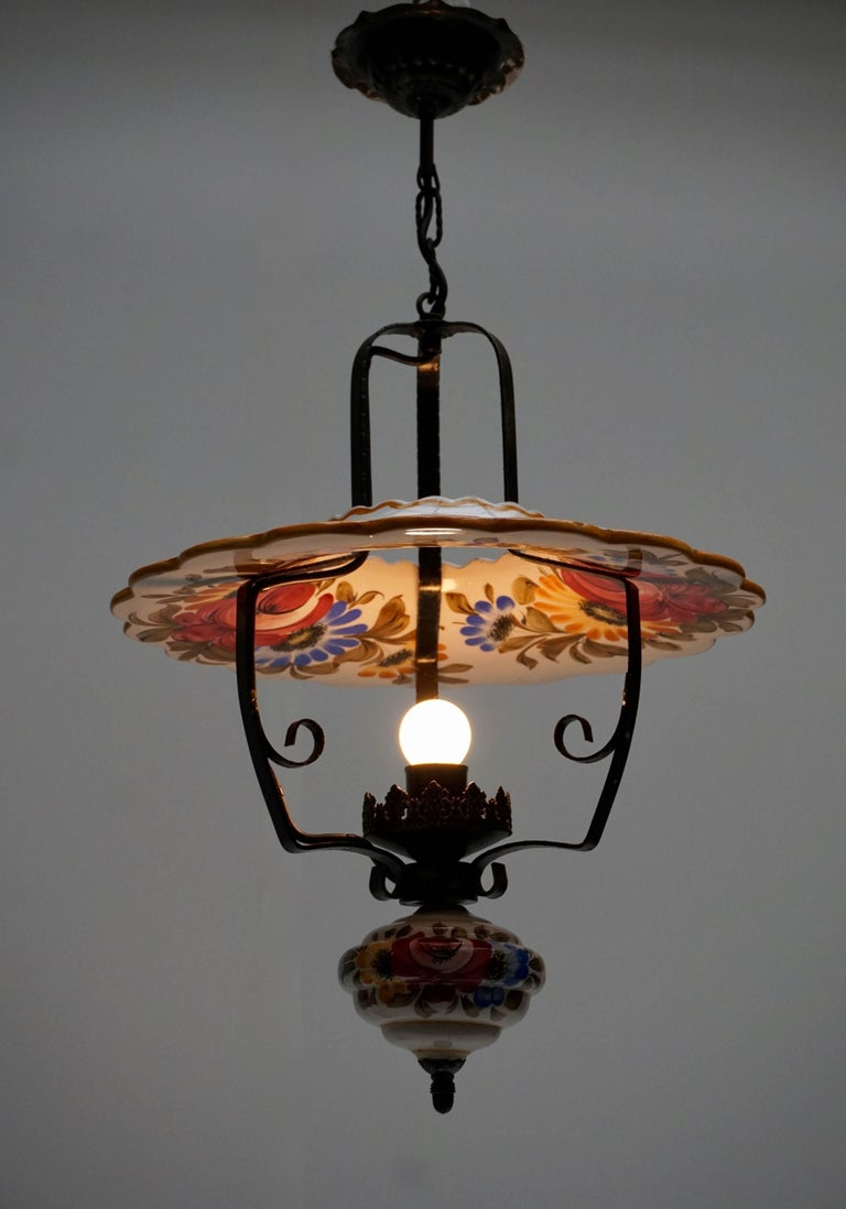 Metal Two Porcelain Pendant Lights For Sale