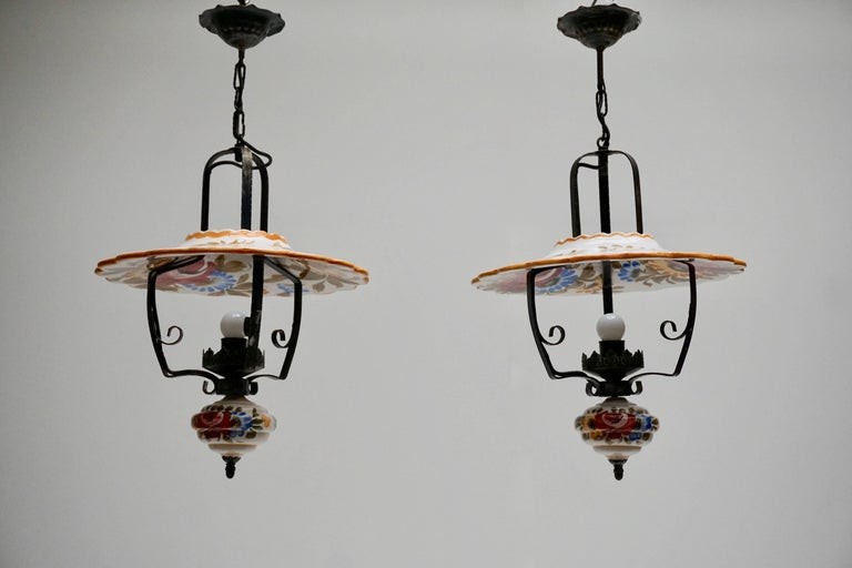 Two porcelain pendant lights for sale at 1stdibs mid century modern two porcelain pendant lights for sale aloadofball Choice Image