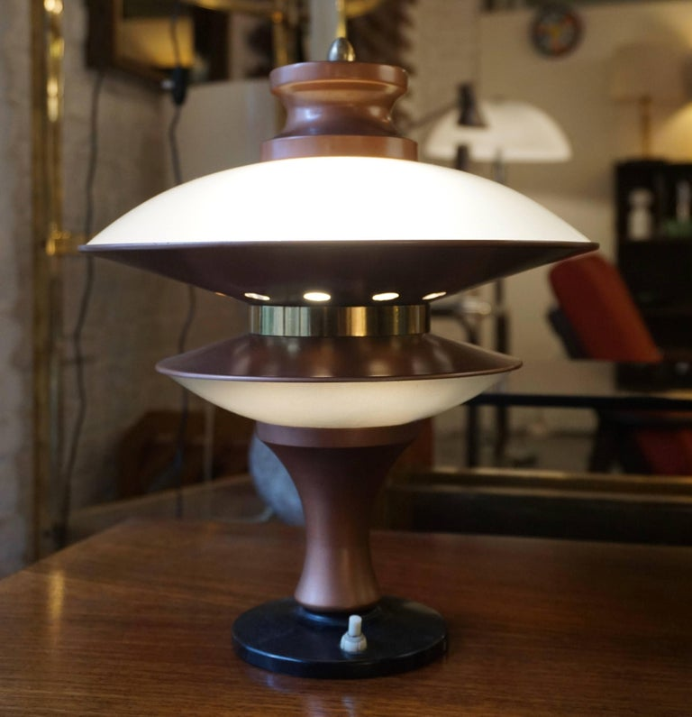 Italian Table Lamp in Glass and Brass For Sale