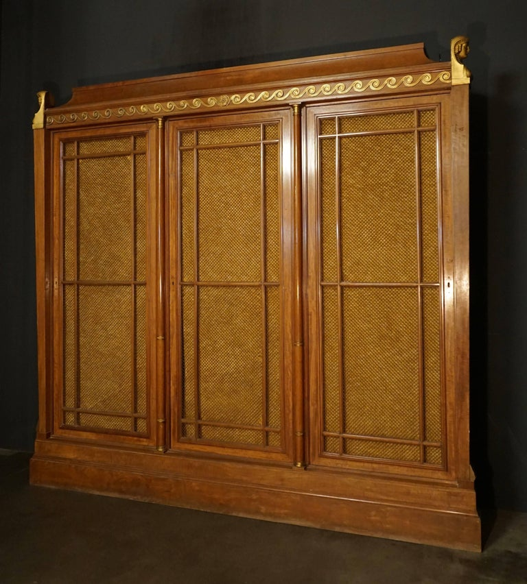 Rare and Magnificent Neoclassical Mahogany Bibliotheque Bookcase For Sale 3