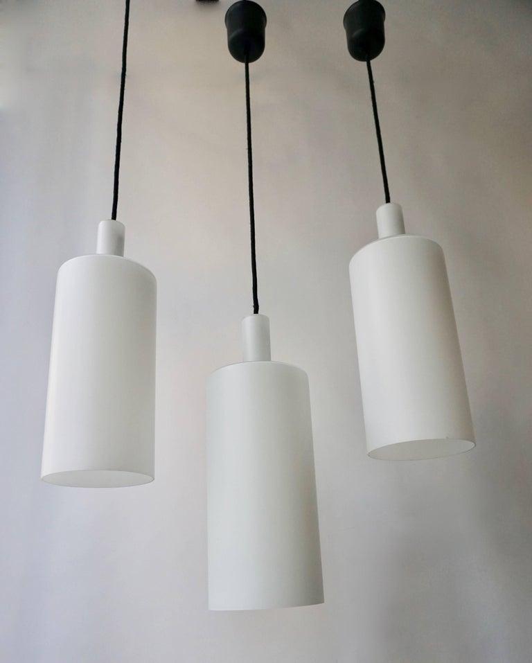 Mid-Century Modern Three Murano Glass Pendant Lights by Vistosi For Sale