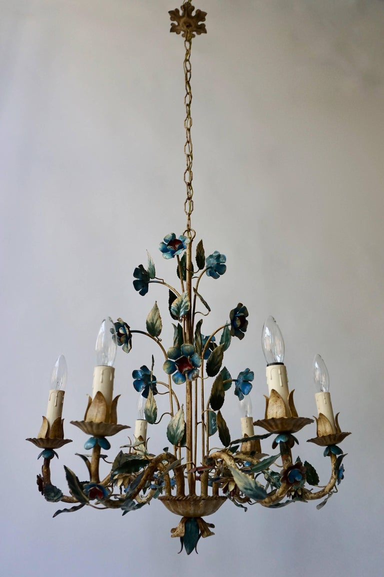 Italian metal painted flower chandelier with six lights.