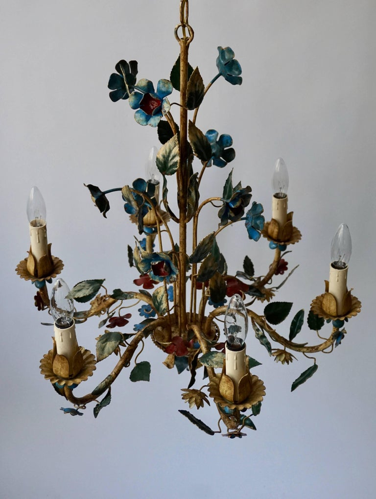 Italian Metal Flower Chandelier For Sale 1