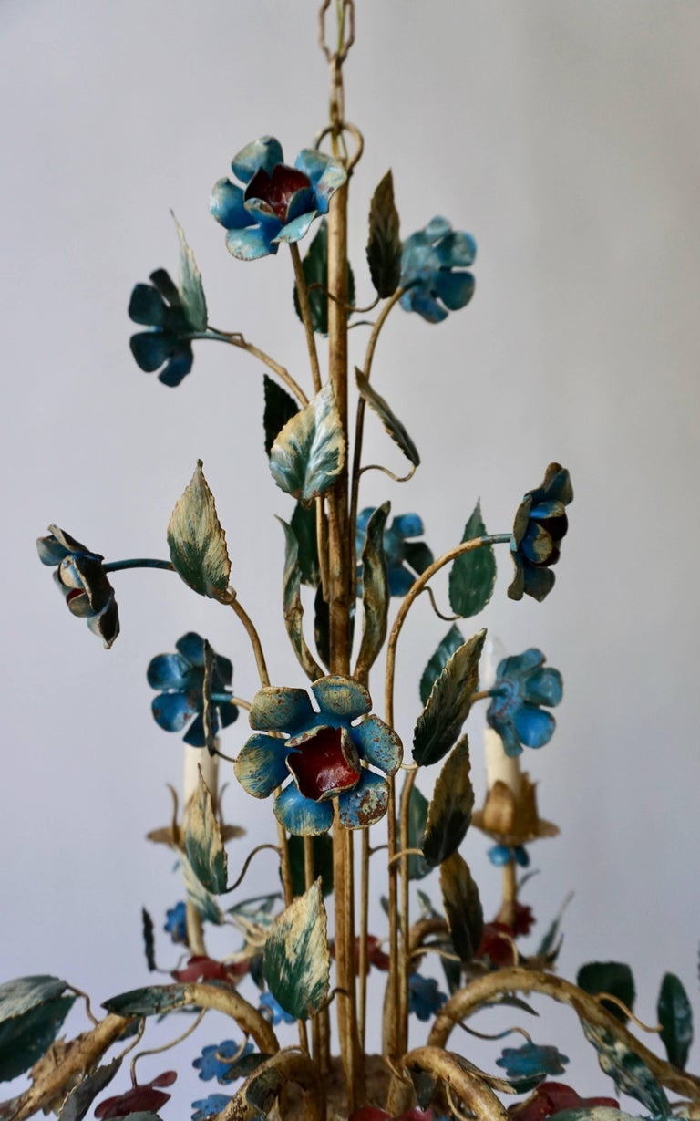 20th Century Italian Metal Flower Chandelier For Sale