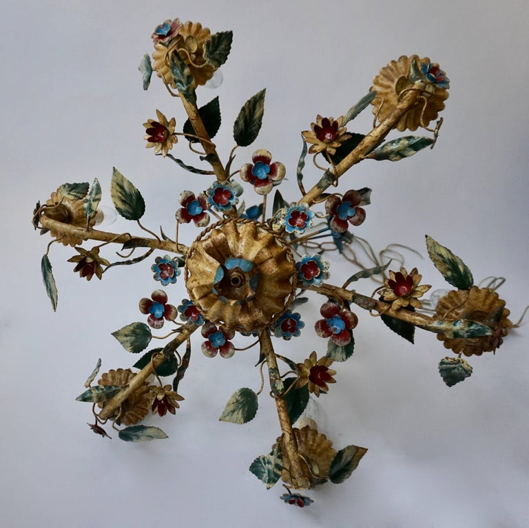 Hollywood Regency Italian Metal Flower Chandelier For Sale