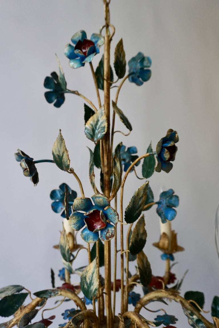 Italian Metal Flower Chandelier For Sale 2