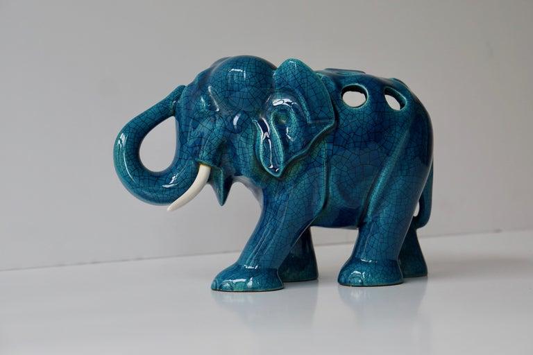 Italian Ceramic Elephant Sculpture For Sale