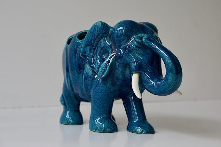 Hollywood Regency Ceramic Elephant Sculpture For Sale