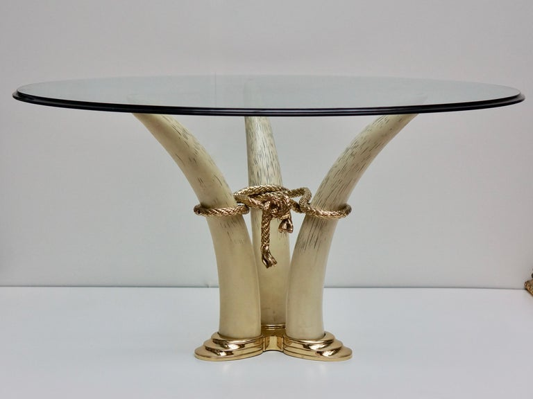 Bronze Hollywood Regency Dining Table by Valenti, Barcelona, Spain, circa 1970-1980 For Sale