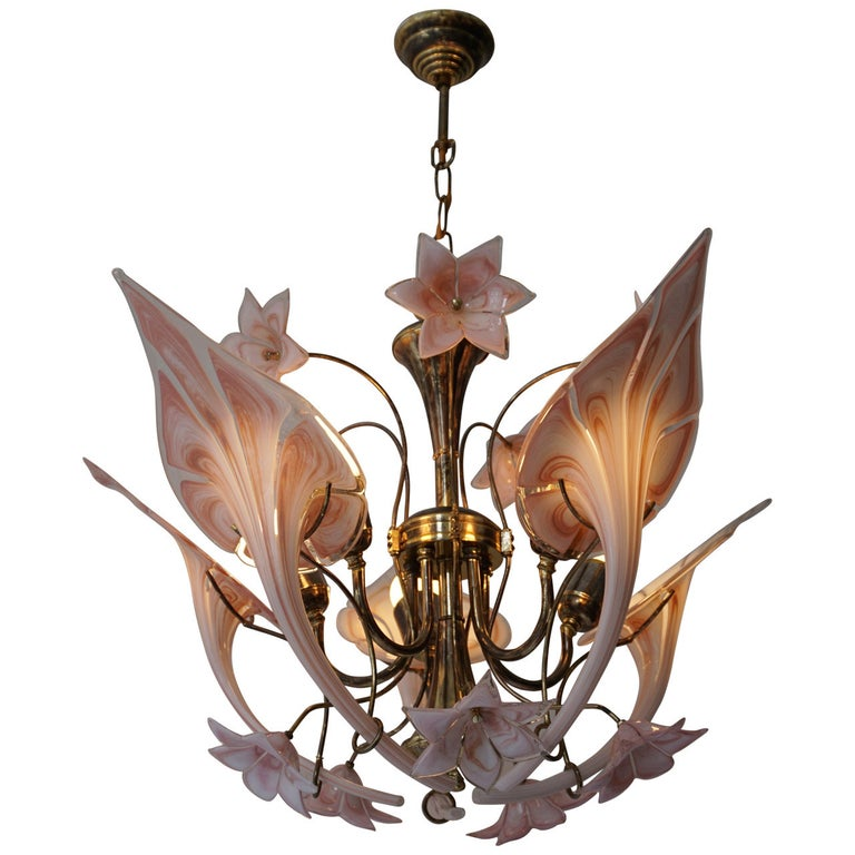 Italian Murano Glass Flower Chandelier For Sale