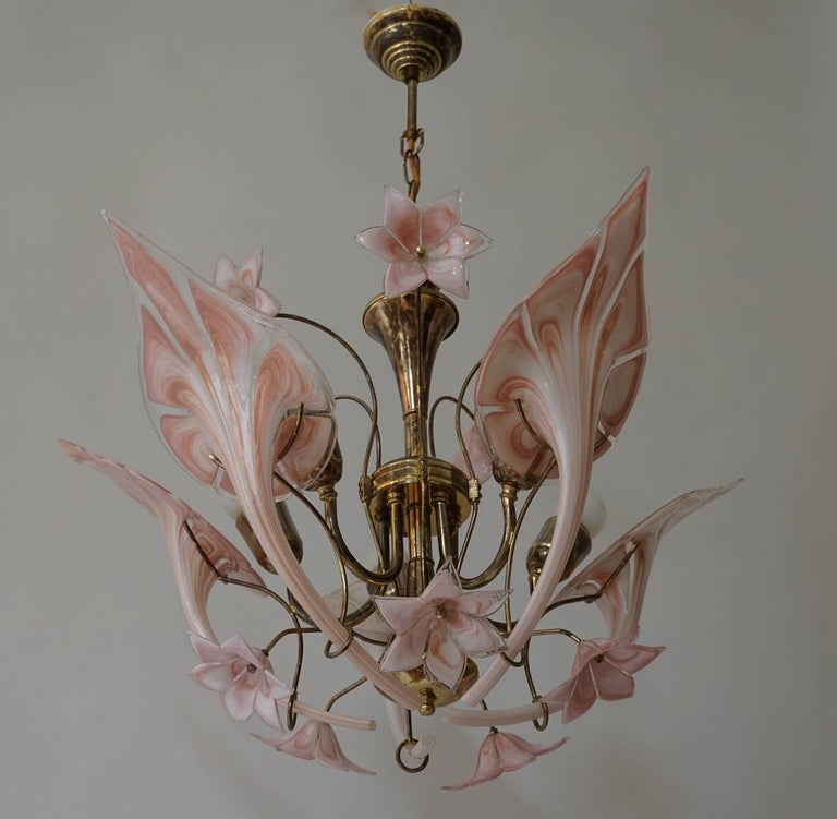 Beautiful Italian Murano glass flower chandelier. Total height with chain is 75 cm.
