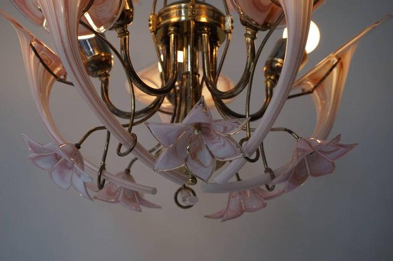 Mid-Century Modern Italian Murano Glass Flower Chandelier For Sale