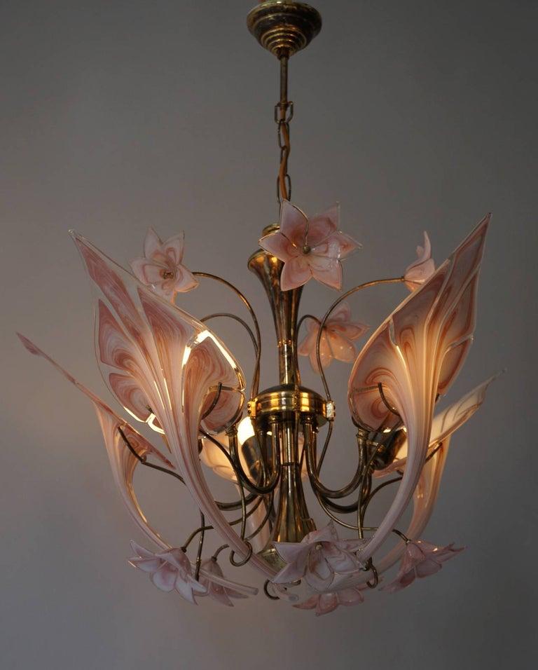 20th Century Italian Murano Glass Flower Chandelier For Sale