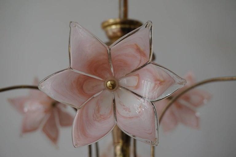 Brass Italian Murano Glass Flower Chandelier For Sale