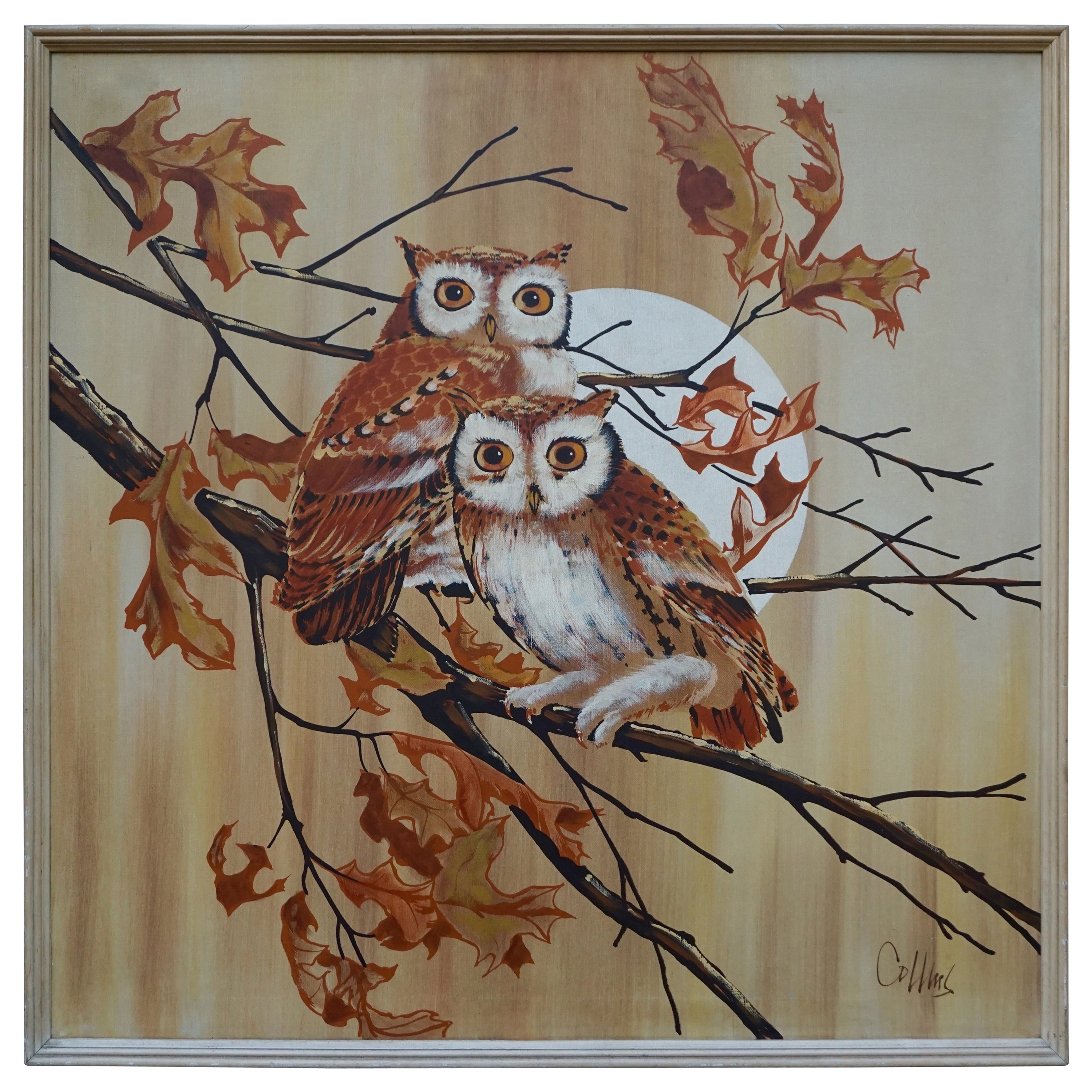 Midcentury Painting of Two Owls