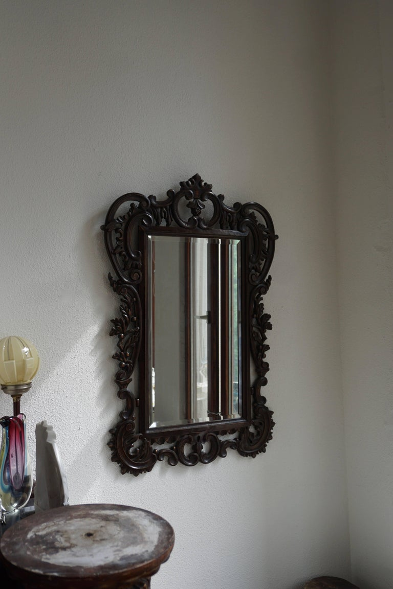 Large Carved Antique Wooden Mirror For Sale At 1stdibs