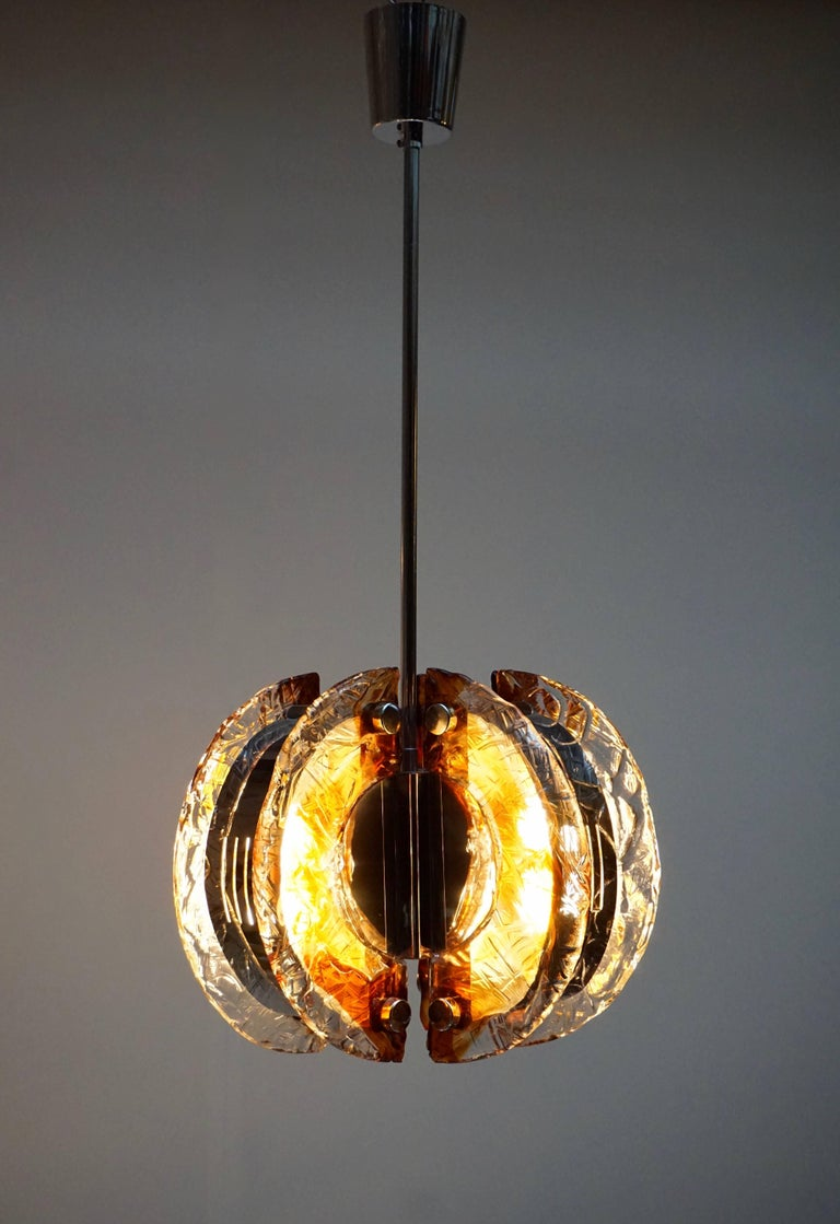 20th Century Murano Clear and Amber Glass Chandelier, Italy, 1970s For Sale