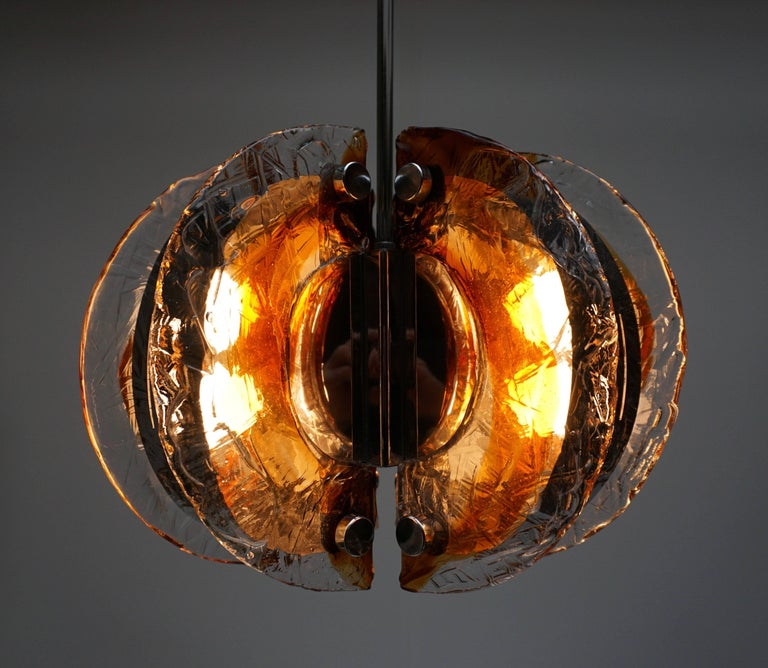 Mid-Century Modern Murano Clear and Amber Glass Chandelier, Italy, 1970s For Sale