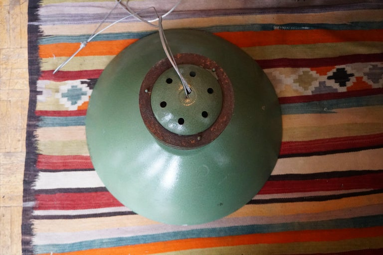 20th Century One Green Metal  Industrial Light For Sale