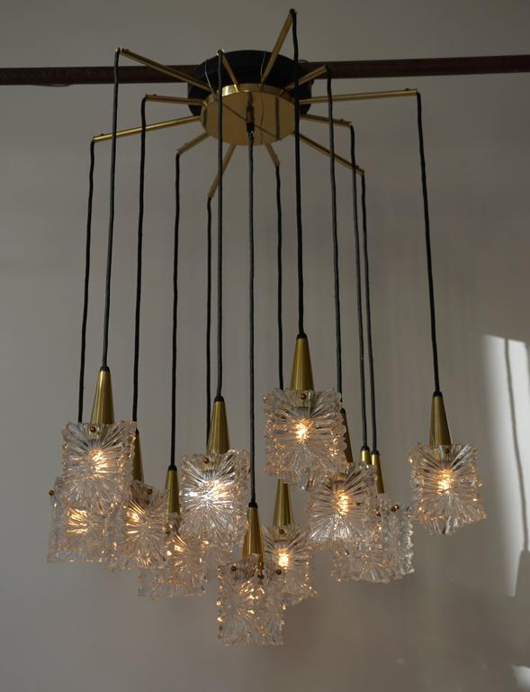Brass 1970s RAAK Chandelier For Sale
