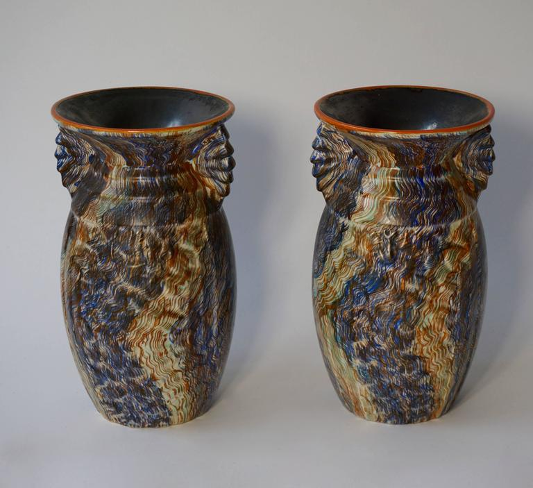 Pair of Belgian Ceramic Vases In Excellent Condition For Sale In Antwerp, BE