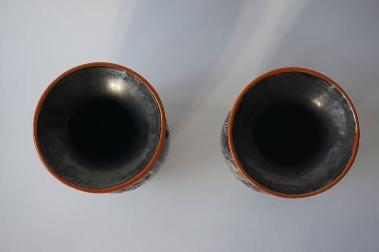 20th Century Pair of Belgian Ceramic Vases For Sale