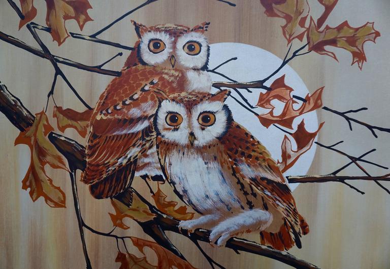 Painting of two owls. Painting of two owls. Signature unknown.