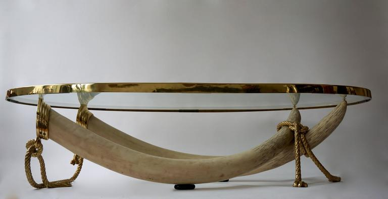 Large Glass and Brass Elephant Tusk Base Coffee Table by Valenti, 1970s In Excellent Condition For Sale In Antwerp, BE