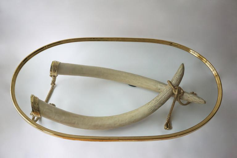 20th Century Large Glass and Brass Elephant Tusk Base Coffee Table by Valenti, 1970s For Sale