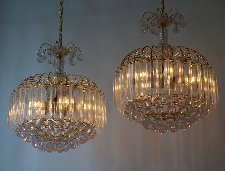 Brass Two Elegant Italian Chandeliers For Sale