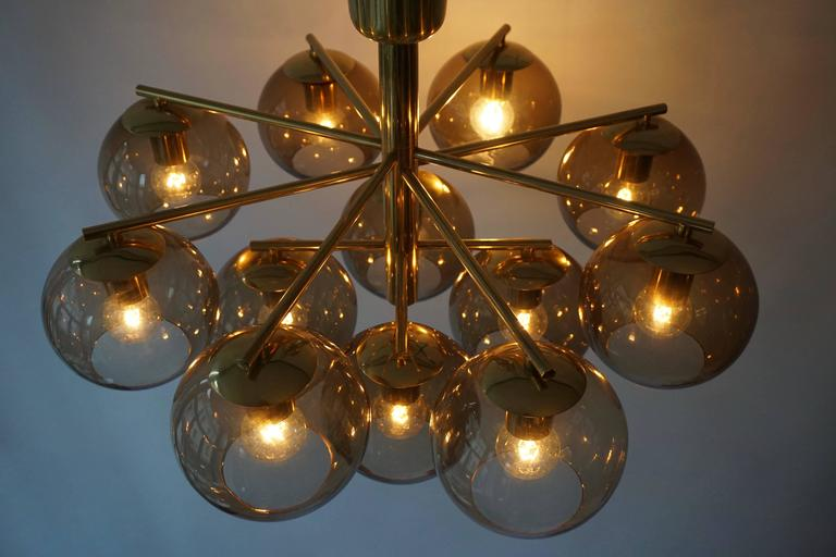 Mid-Century Modern Murano Glass and Brass Chandelier, Flush Mount Light For Sale