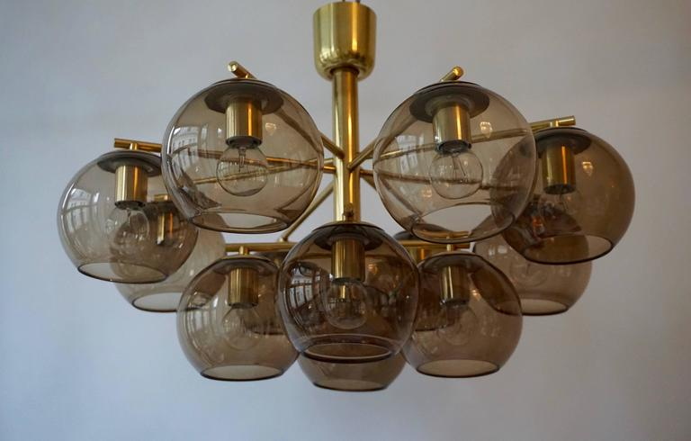 20th Century Murano Glass and Brass Chandelier, Flush Mount Light For Sale