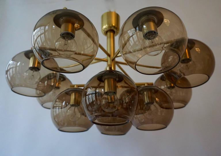 Murano Glass and Brass Chandelier, Flush Mount Light In Good Condition For Sale In Antwerp, BE