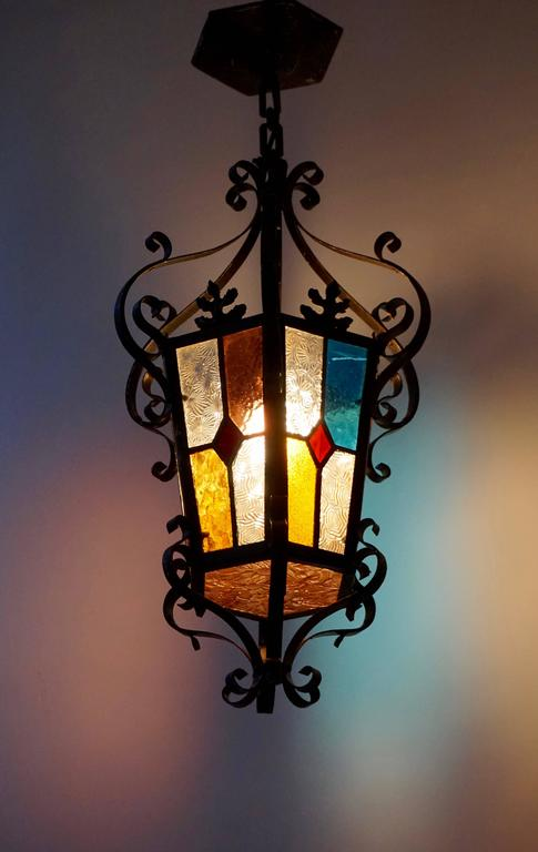 Italian Lantern Chandelier with Stained Glass For Sale