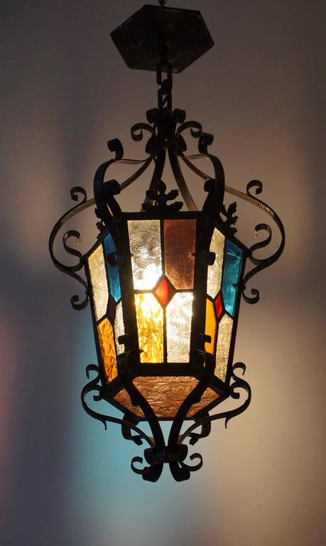 Mid-Century Modern Lantern Chandelier with Stained Glass For Sale
