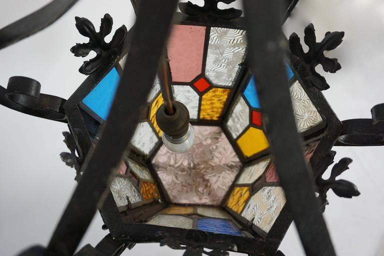 Lantern Chandelier with Stained Glass For Sale 2