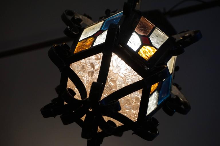 Lantern Chandelier with Stained Glass For Sale 1