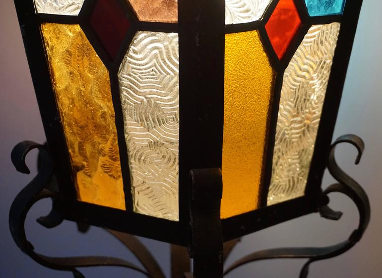 20th Century Lantern Chandelier with Stained Glass For Sale