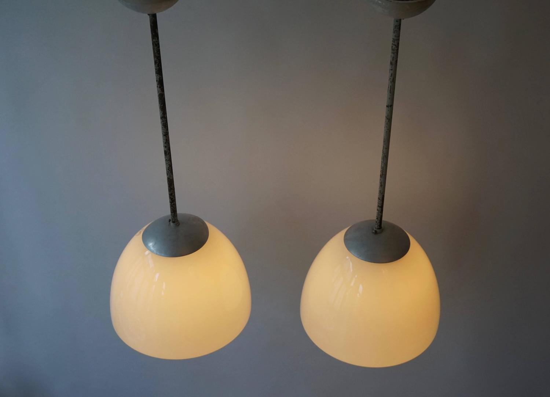 Set of four art deco opaline glass pendant lights at 1stdibs Artisan glass pendant lights