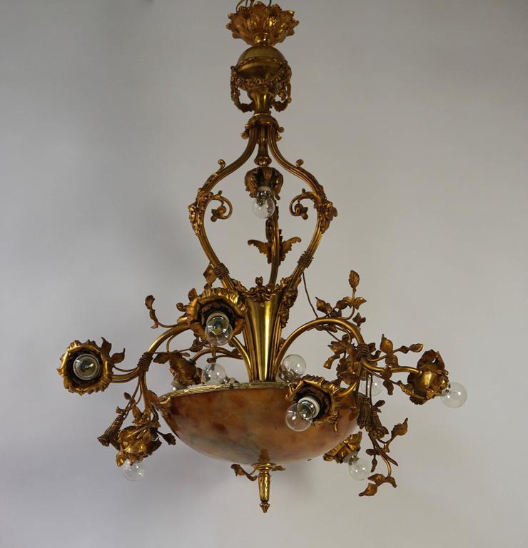 Italian Fine Gilt Bronze and Alabaster Belle Époque Chandelier For Sale