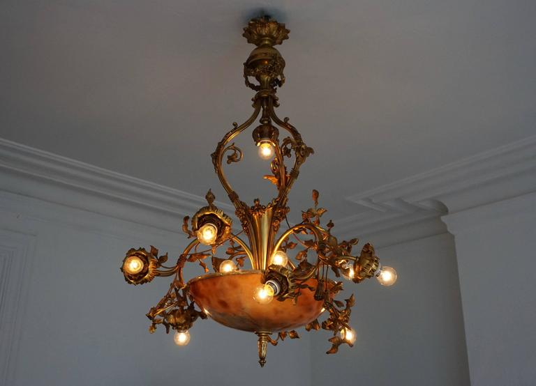 Hollywood Regency Fine Gilt Bronze and Alabaster Belle Époque Chandelier For Sale