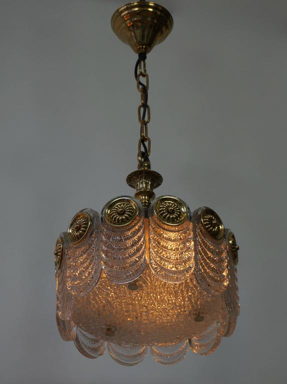 Italian Murano Glass and Brass Chandelier In Good Condition For Sale In Antwerp, BE