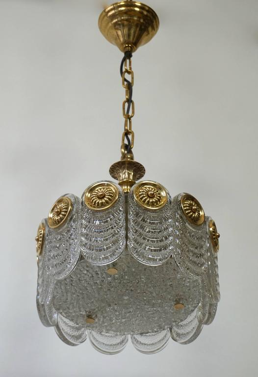 Hollywood Regency Italian Murano Glass and Brass Chandelier For Sale